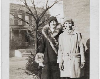 Old Photo Mother and Daughter outside wearing Coats and Hats 1930s Photograph Snapshot vintage