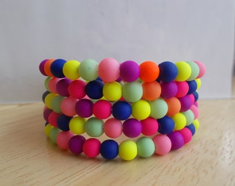 4 Row Memory Wire Cuff Bracelet made with Multi Color Rubber Coated Beads