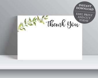 Greenery Thank You Card, Green Leaves Thank You, Botanical Leaves Printable Thank You Card, 4x6 INSTANT DOWNLOAD OLDP300