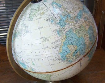 Vintage Crams Imperial World Globe.Spinning Globe.Vintage Home Office Decor.Geography Classroom.Vintage Travel.Classroom Decor.Tan Globe.