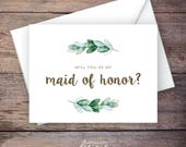 Printable Will You Be My Maid of Honor Card, Greenery, Instant Download Greeting Card, Will You Be My Bridesmaid, Wedding Card – Natalie