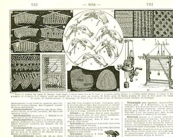 1922 Vintage knitting wall art Crocheter Gift for knitter Knitting art print Knitting art poster Fiber artist gift craft room wall decor