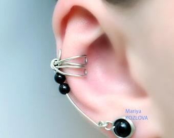 Conch Ear Cuff Silver and Black Dragonfly Wings/ ohr faux piercing/ ohrklemme ohrclip/cartilage cuff/ear jacket manschette/fake false pierce