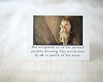 Moth Card Insect Art Notecard China Doll Claudia Whispered Her Secrets Typographic Stationary