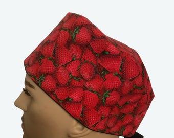 Unisex Scrub Cap - Strawberry Bunch Scrub Hat - Fruits scrub hat - Food Scrub Hat - short hair scrub caps - Vet Tech Scrub Hat - Nurses hat