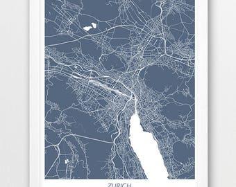 Zurich Map Print Poster Switzerland Urban Street City Blue
