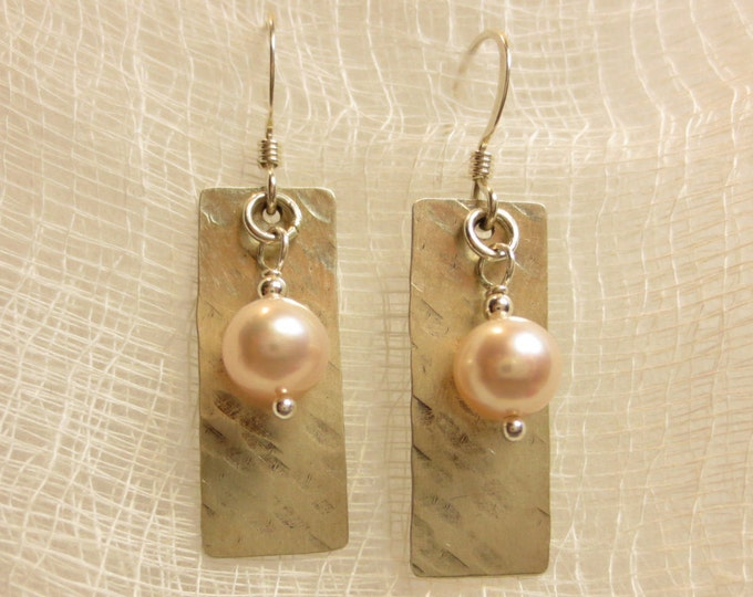 Bead Earrings - Oxidized Earrings - Boho Earrings - 6mm Bead on Texture #2 Dangle Earrings on Sterling Silver or 14k Gold Fill