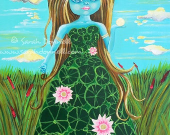 Original acrylic painting big eye art illustration art big eyes big eyed girls figurative portrait folk art children kawaii fantasy pop art