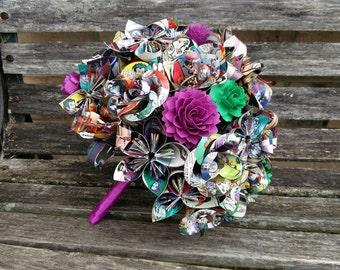 Comic Bridal Bouquet. YOUR CHOICE Of Comics, Colors, Paper, Sheet Music, Flower Styles, Etc.