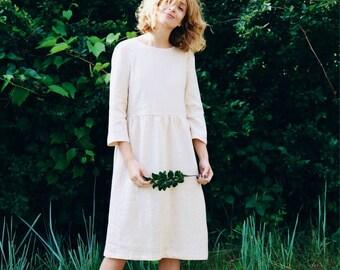 Ivory Linen Dress - 3/4 Sleeve Dress - Loose Fit Dress - High Waist Dress - Ivory Linen Dress - Handmade by OFFON