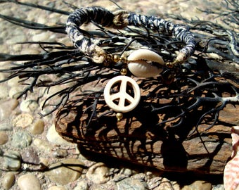 Unisex Soft Rustic Tribal Hand Block India Fabric Cowrie Shell Peace Sign Brass Bells Hippie Bracelet