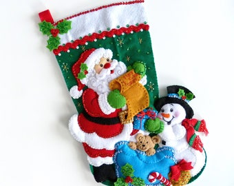 Bucilla Christmas Stockings Finished Bucilla Stockings Personalized Stockings Children's Kids Family Stocking Santa's List Snowman Stocking