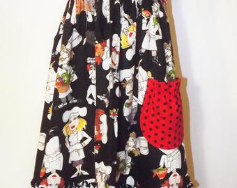 Ruffly Chef's Apron in Black, White, and Red