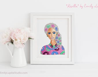 "Original Painting ""Rosella""/ Watercolor Portrait Woman Blue Eyes Gray Hair / Wall Art Birthday Retirement Anniversary Gift / Original Art"