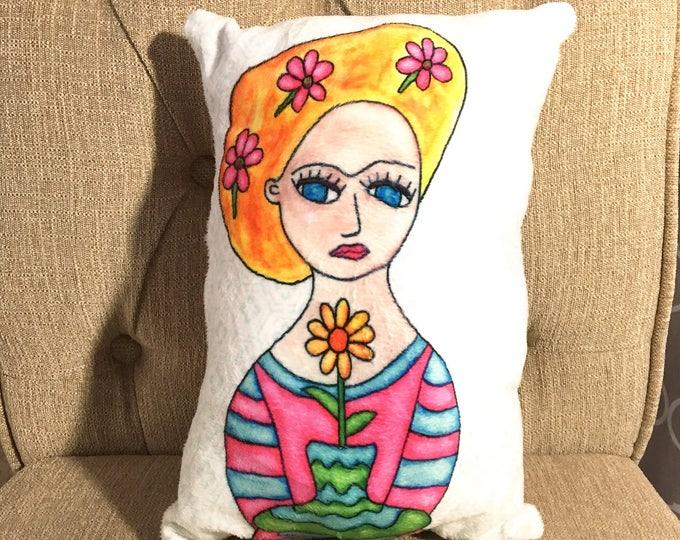 Art Pillow: Frida Doll Pillow Flowers Bouquet Blonde Woman Accent Pillow Handmade Textile Home Decor Nursery Pillow Baby Doll Unique Gift