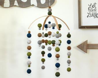 Blue and Green Felt Ball Mobile, Baby Mobile, Crib Mobile, Nursery Cot Mobile, Pom Pom Mobile, Nursery Mobile, Gender Neutral, Custom Mobile