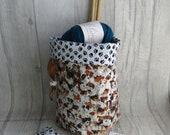 Jack Russell Dog Knitting Project Bag, Dog Crochet Bag, dice bag, sock project bag, wip bag, drawsting bag, crochet, weaving, embroidery,