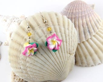 Plumeria Frangipani Pink White and Yellow Dangle Earrings with Swarovski Crystals French Hook