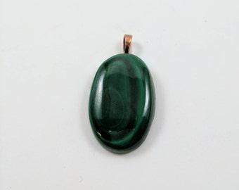 Malachite Pendant with Leather Cord