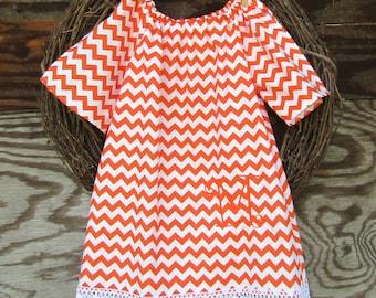 Girls Monogrammed Dress, Girls Fall Dress, Thanksgiving Dress, Orange Chevron Dress,