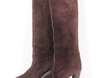 VINTAGE Chocolate Suede Custom Designer Heeled Boots sz 8 | Runway Fashion Leather Knee High Boots Dark Brown