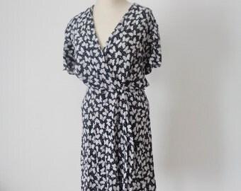 Vtg 70s BIBA Style Black & White BUTTERFLY Print Dress! Medium