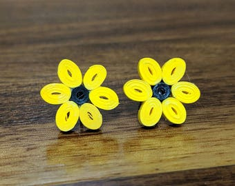 Yellow Flower Stud Paper Quilling Earrings | 1st Paper Anniversary Gift for Her | Stainless Steel Hypoallergenic for Sensitive Ears