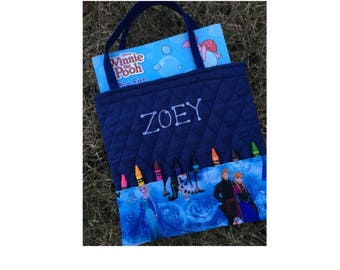 Frozen Personalized Coloring Book and Crayon Tote