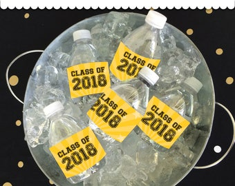 Graduation Bottle Wrappers Yellow & Black Instant Download printable PDF