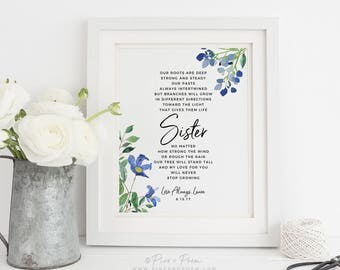 Gift for Sister, Birthday Wedding Watercolor Flower Tree Poem, Maid of Honor Art Print 8x10 inches, UNFRAMED