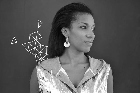Hoop earrings - radial pattern - silver mirror - statement earrings - graphic jewelry - minimalist jewellery - designer - lasercut acrylic