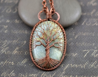 Aquamarine Necklace Tree of life Pendant Wire Wrapped Pendant Copper Jewelry March Birthstone Protection Amulet Healing stones Family Tree