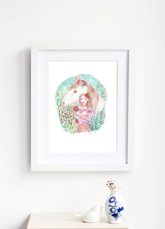 Horse and Girl Art Print