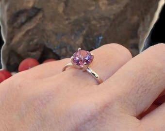 Alexandrite Ring,  Sterling Silver Ring, Engagement Ring, Left Hand Ring