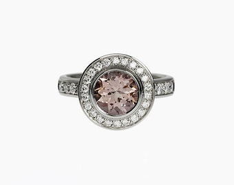 Morganite ring, diamond, engagement ring, halo engagmenet, diamond ring, white gold, morganite engagement, peach, bezel, yellow gold, rose