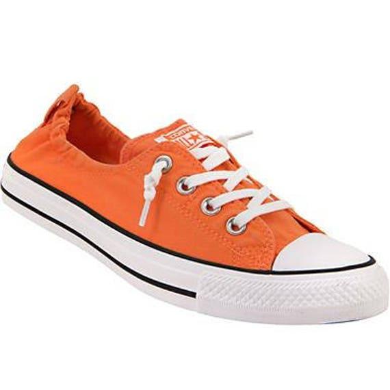 Orange Converse Red Mango Coral Shoreline Slip on Kicks w/ Swarovski Crystal Rhinestone Jewels Bling Chuck Taylor All Star Sneakers Shoes