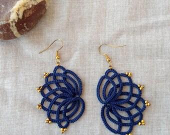 Navy blue tatted lace earrings , tatting lace , statement jewelry , tatted jewelry , frivolite , lace jewelry