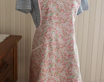 Pink Calico Vintage Style Apron -Ready to Ship