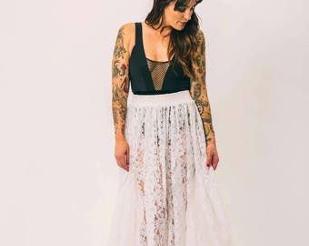 vintage white lace maci skirt | one size sheer | the like a virgin skirt