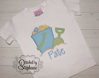 Boys beach applique short sleeve shirt or bodysuit blue green sand pail bucket embroidered personalized monogrammed with name