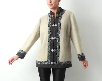 60s Wool Coat / Firda Wool Coat / Norwegian Wool Coat /  Folk Coat / Embroidery Coat / 60s Wool Jacket / Woman Wool Coat / Vintage Coat