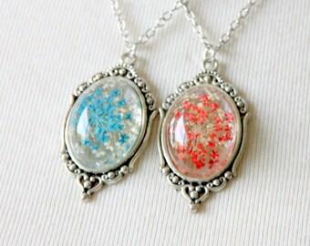 Necklace fleur séchée blue/red