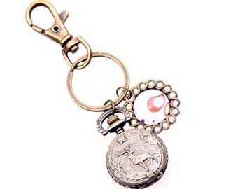 Bag key chain Pocket watch deer and bird