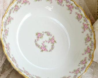 Stunning Antique Elite Limoges Porcelain Serving Bowl / Roses and Violets / French China