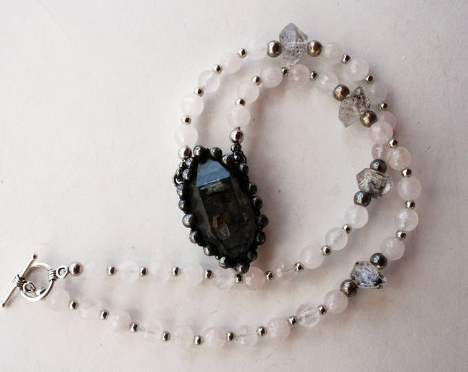 Double Terminated Tibetan Quartz Crystal Rose Quartz Necklace