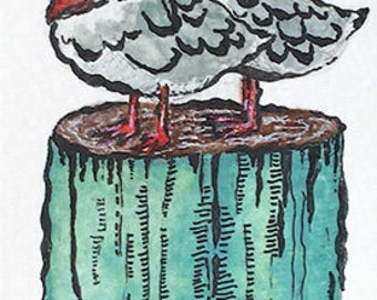 Original mixed media drawing and bookmark, seagull illustration, bird illustration