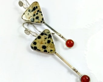 Sterling Silver earrings with Dalmation Jasper and Cornelian