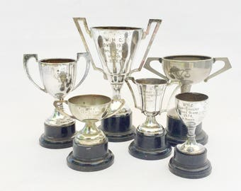 Silver plated sports trophy collection, 1960s / 70s EPNS award cups with handles, Bowls, Shove halfpenny,Engraved