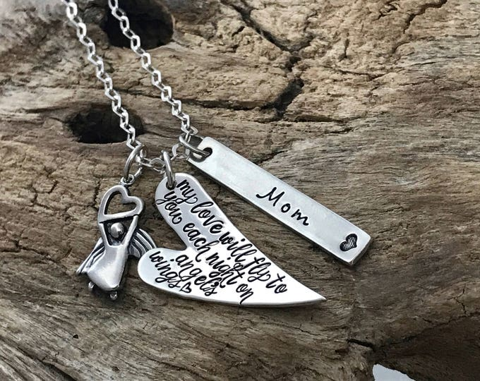 Personalized Remembrance Necklace | Quote Necklace | Memorial Keepsake | Sympathy Gift | In Memory of Loved One | My Love Will Fly To You