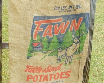 Vintage Burlap Sack - Fawn Potato Sack - Zalewski - Antigo Wisconsin - Feed Bag - Primitive Project - Upcycle - Deer Graphics